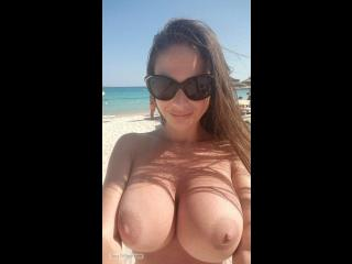 Extremely big Tits Of My Girlfriend Topless Selfie by Beach