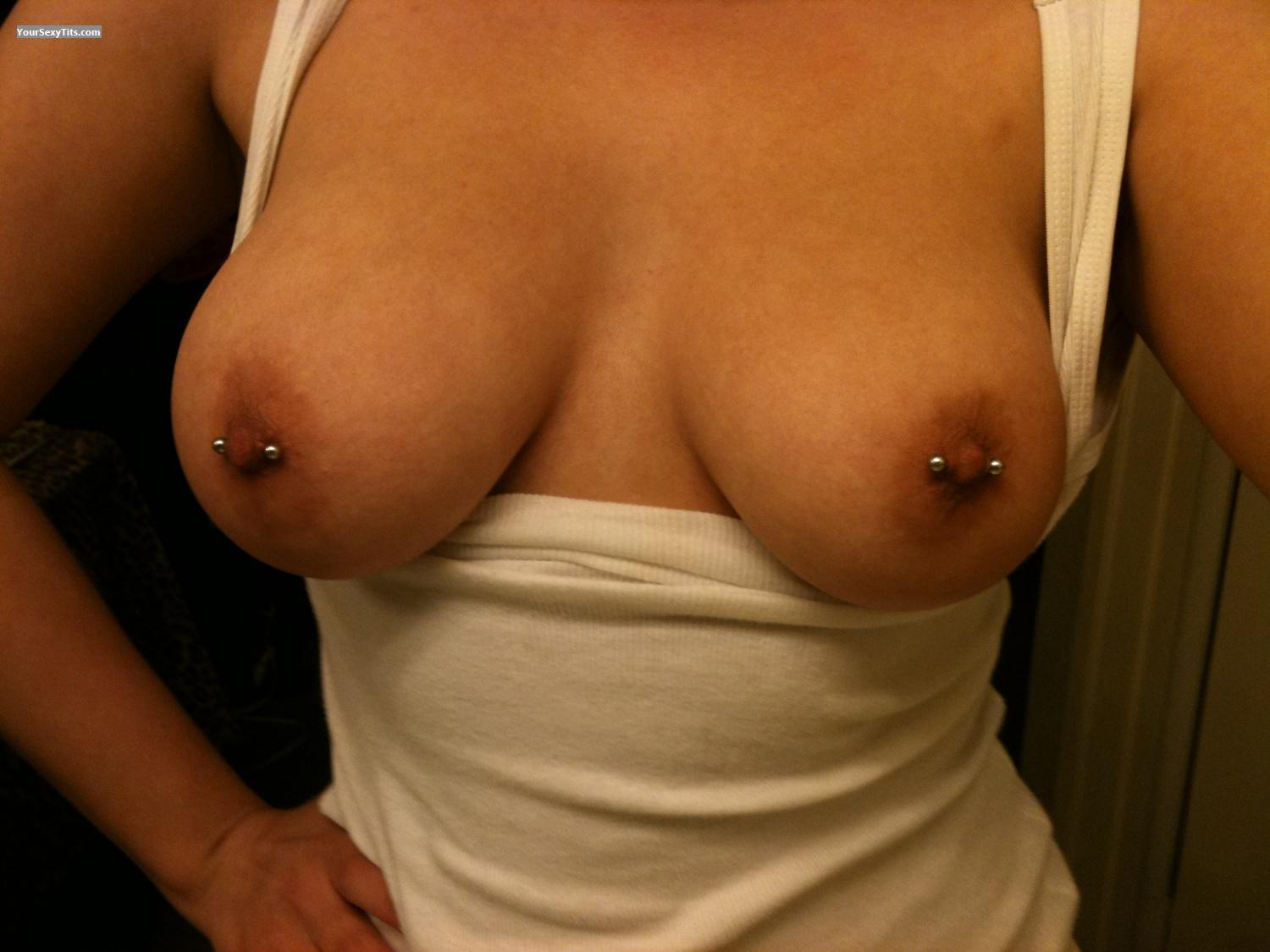 Tit Flash: My Big Tits By IPhone (Selfie) - Arties Girl from United StatesPierced Nipples