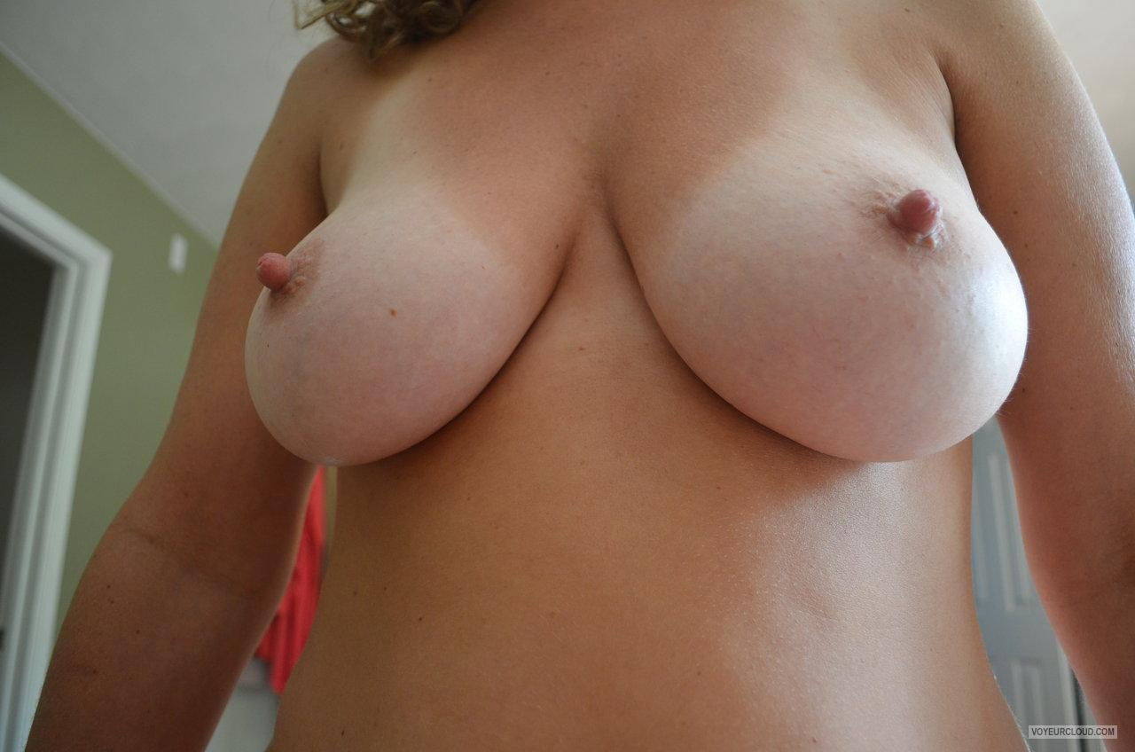Tit Flash: Wife's Tanlined Big Tits - Jay from United States