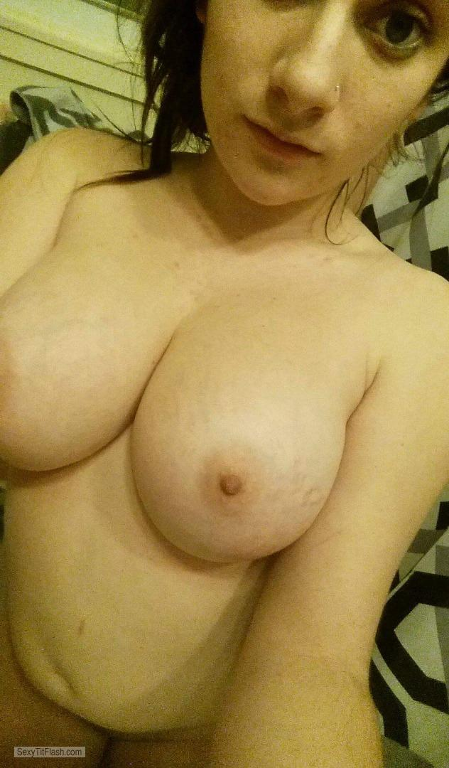 Tit Flash: Wife's Big Tits (Selfie) - Topless Sexy Wife from United States