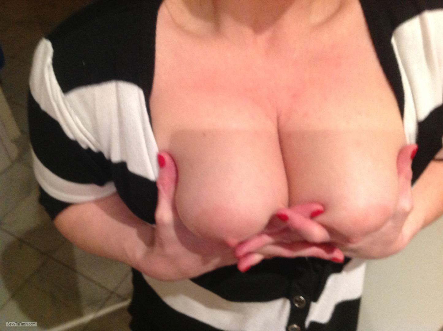 Tit Flash: My Big Tits (Selfie) - Big Cum Tits from United Kingdom