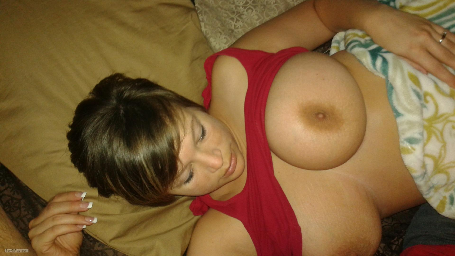 Tit Flash: Wife's Big Tits - Mercedes from United States