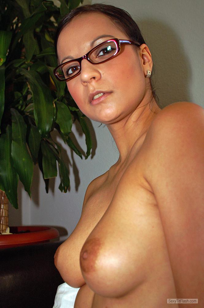 Tit Flash: Ex-Girlfriend's Medium Tits - Topless Sabine from Germany