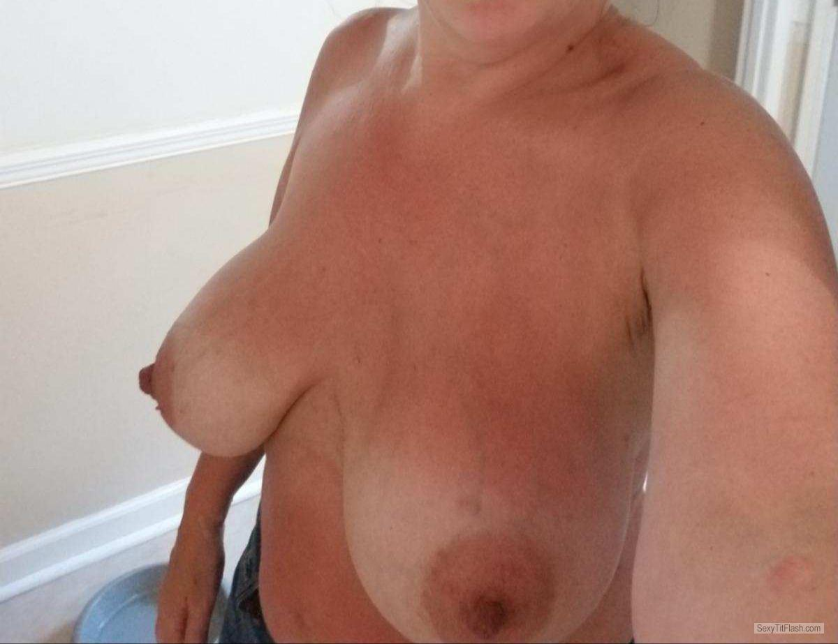 Tit Flash: My Tanlined Big Tits (Selfie) - Momma D from United States