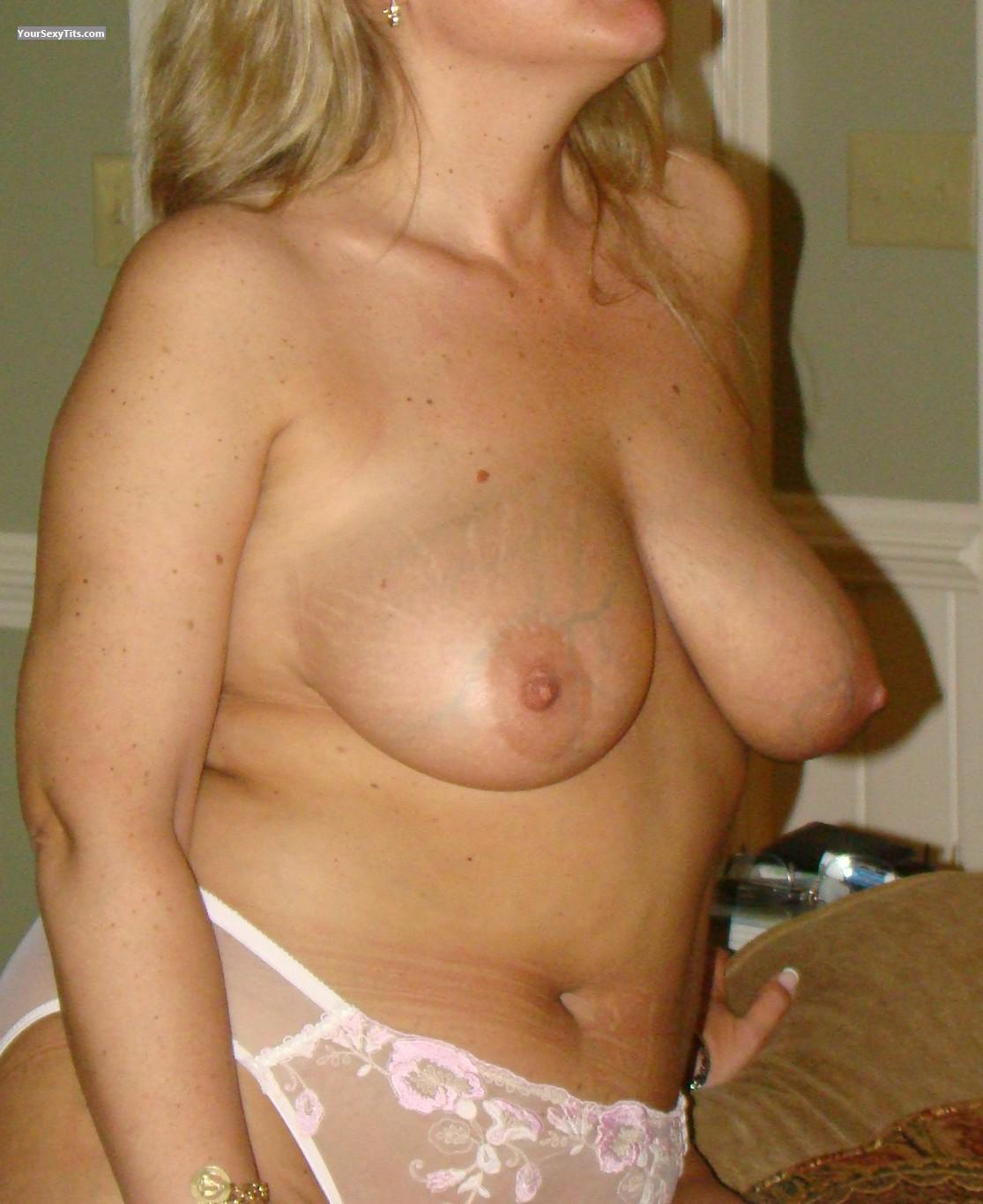 Tit Flash: Big Tits - Myblondewife from United States