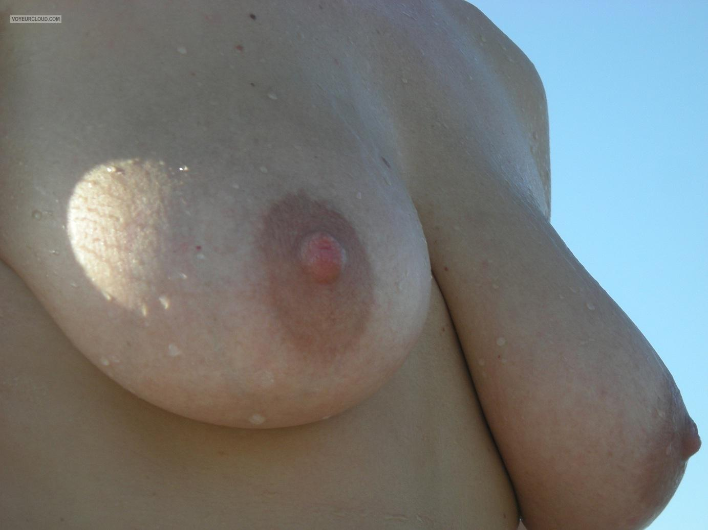 Tit Flash: Girlfriend's Medium Tits - M from Greece