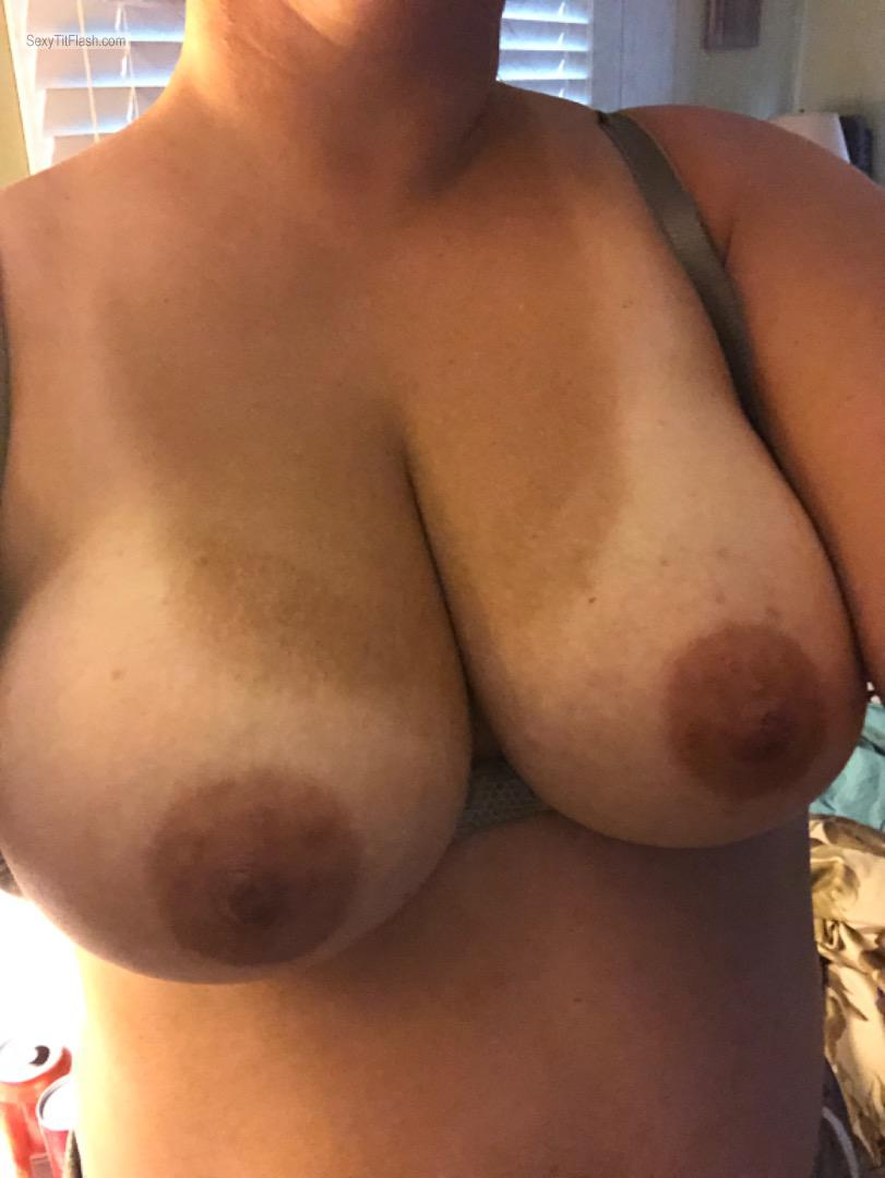 Tit Flash: My Big Tits With Very Strong Tanlines (Selfie) - Curious Lady from United States