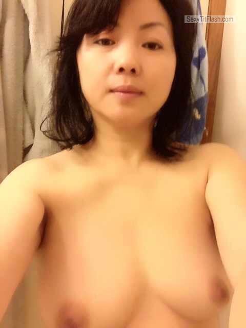 Tit Flash: My Small Tits (Selfie) - Topless Michelle from China