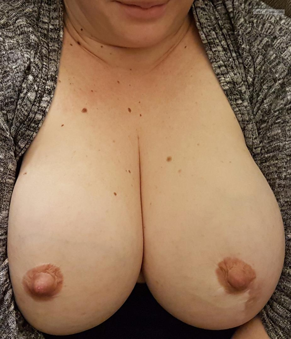 Tit Flash: Wife's Big Tits - Topless Beardos Wife from Canada