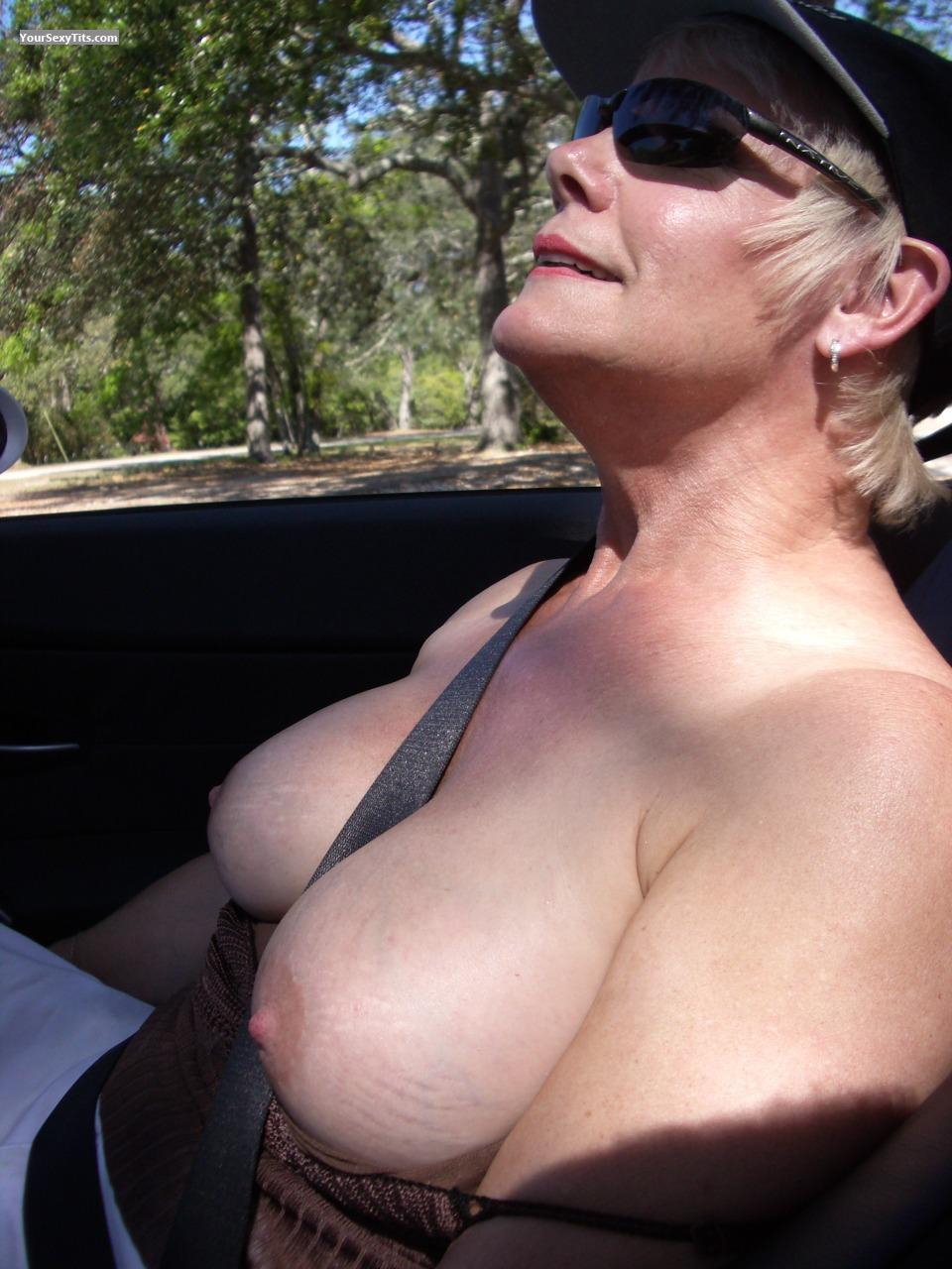 Tit Flash: Big Tits - Topless Redhotgrani from United States