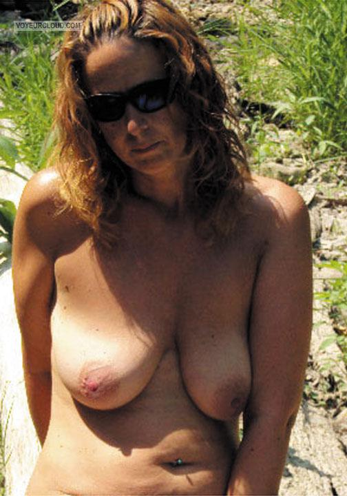 Tit Flash: My Tanlined Big Tits - Topless Rere from United States
