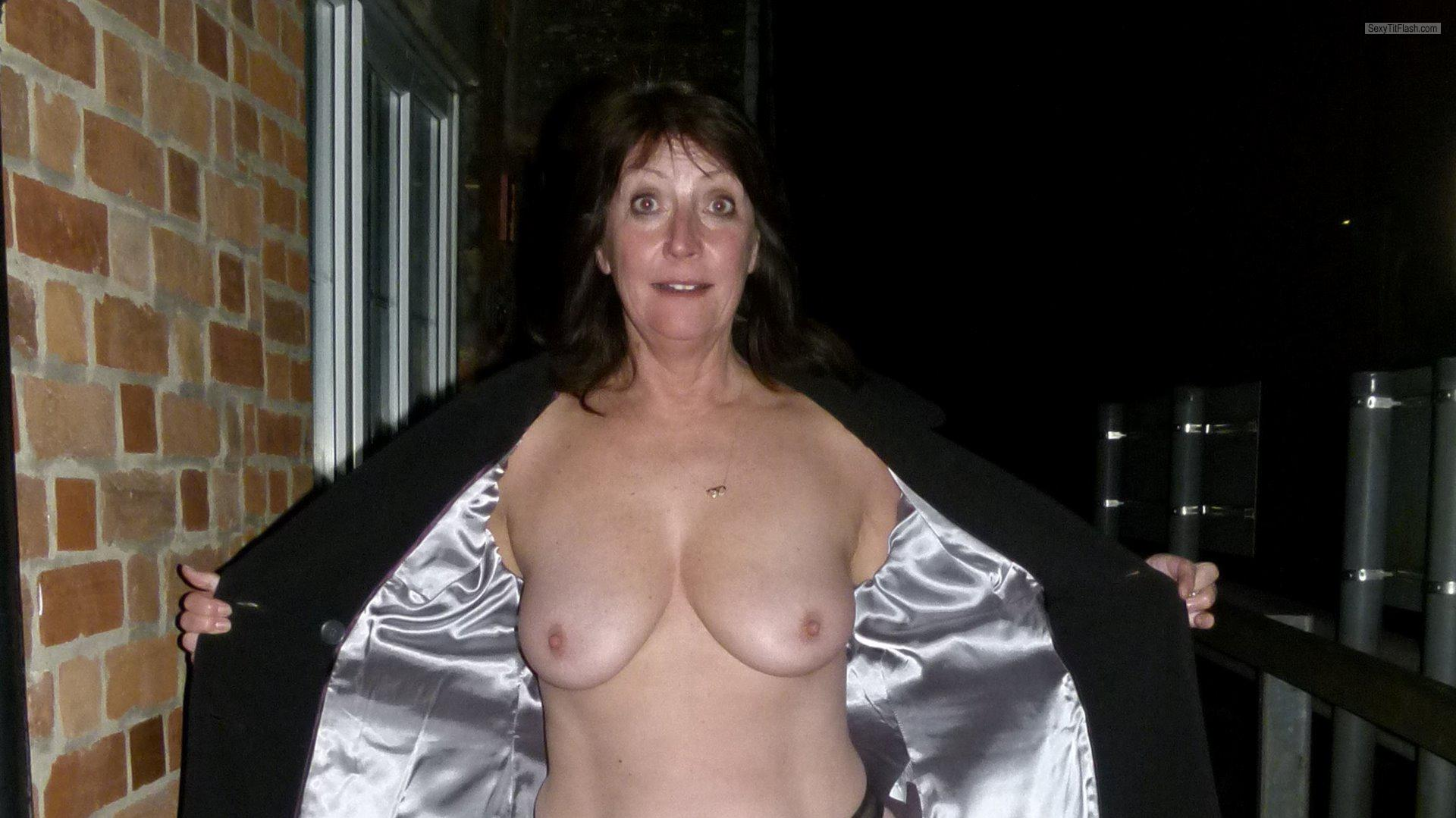 Tit Flash: My Big Tits - Topless Elaine J from United Kingdom