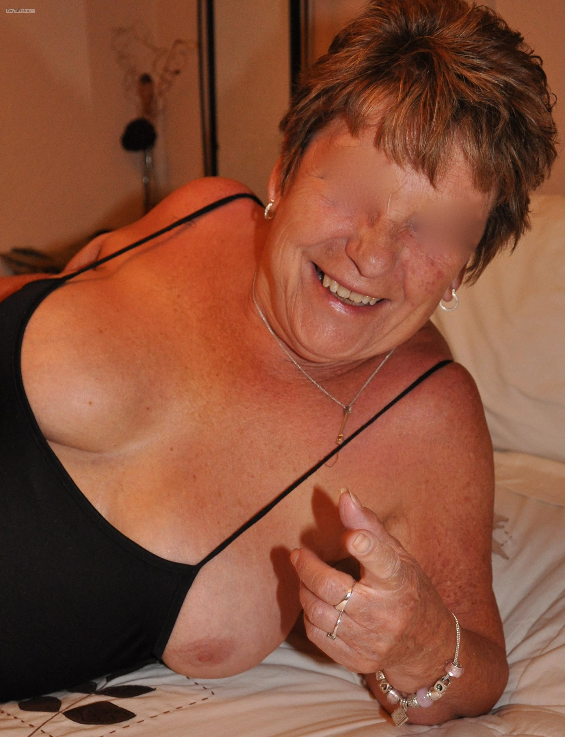 Tit Flash: Room Mate's Medium Tits - Topless Sexy M from United Kingdom