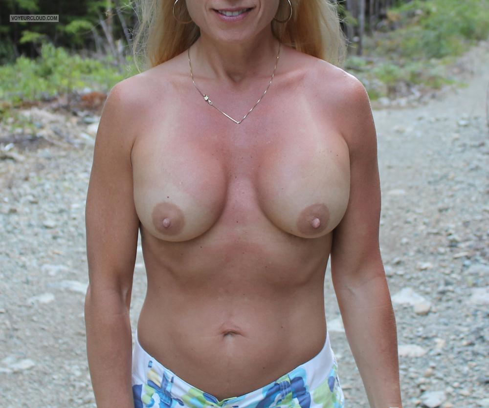 Tit Flash: Wife's Tanlined Medium Tits - Deb from United States