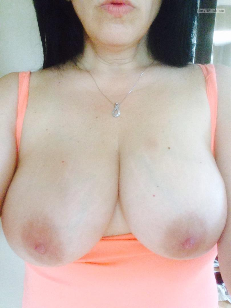 Tit Flash: Wife's Big Tits (Selfie) - Shan from United States