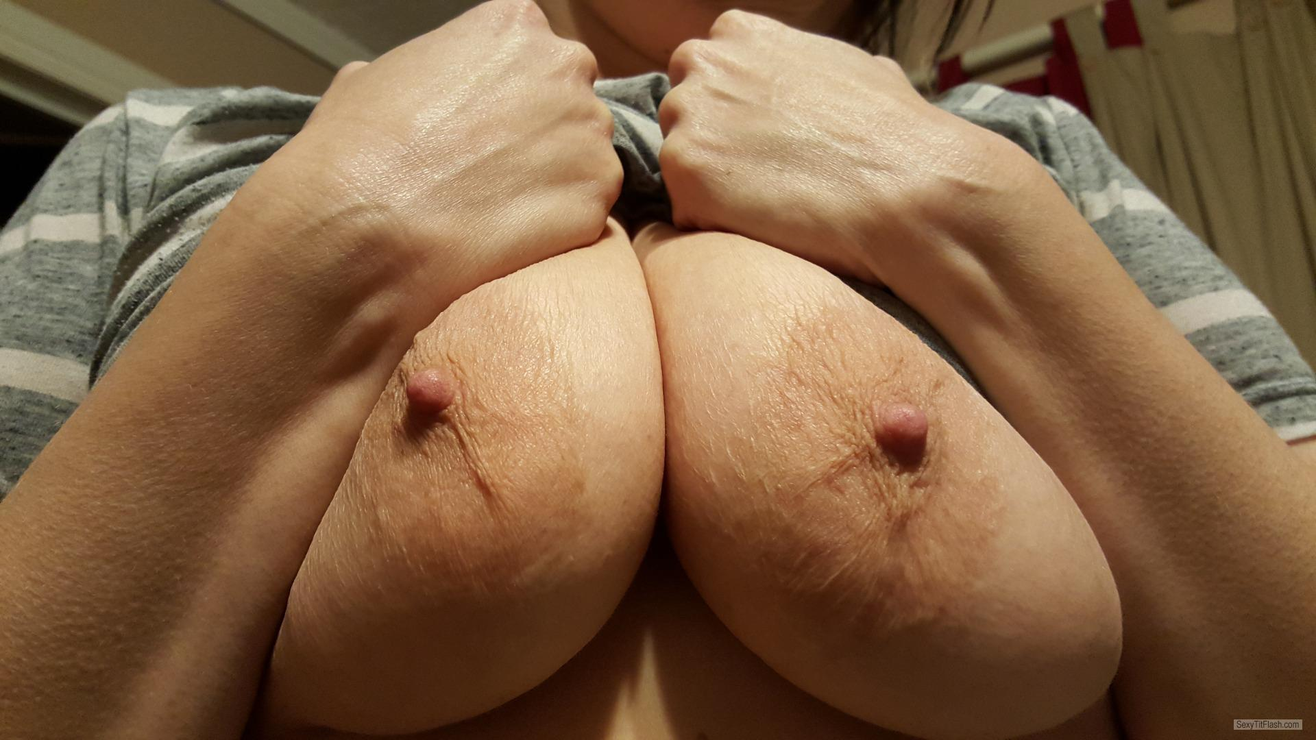 Tit Flash: Wife's Big Tits - Loves To Share from United States
