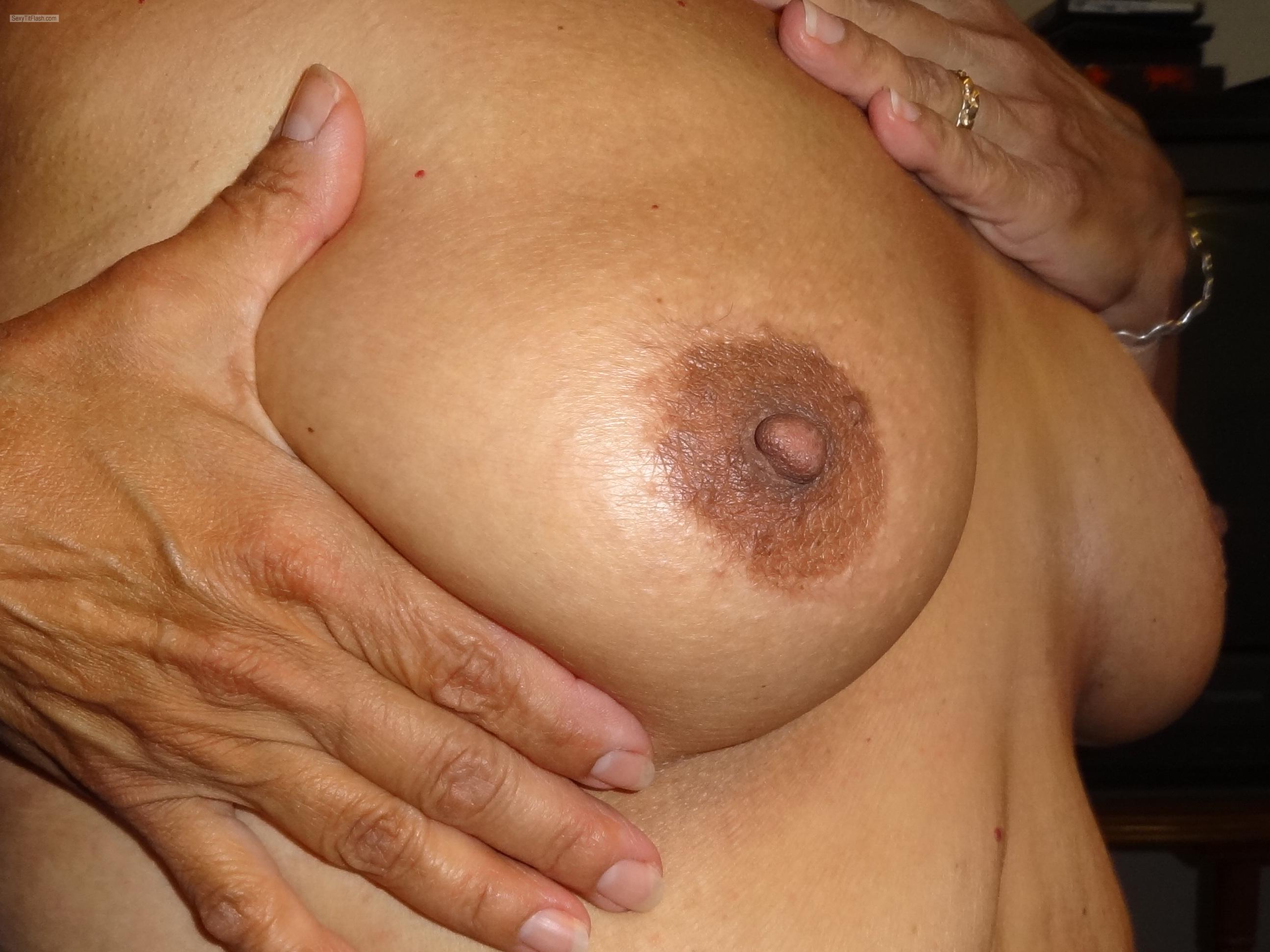 Tit Flash: Wife's Medium Tits - Karentits from United States