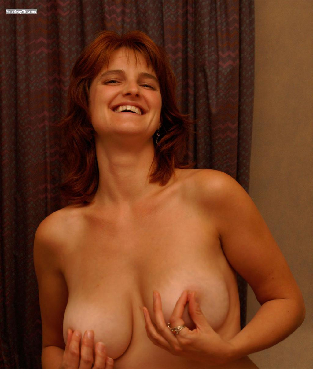 Tit Flash: Big Tits - Topless Hottie from Belgium
