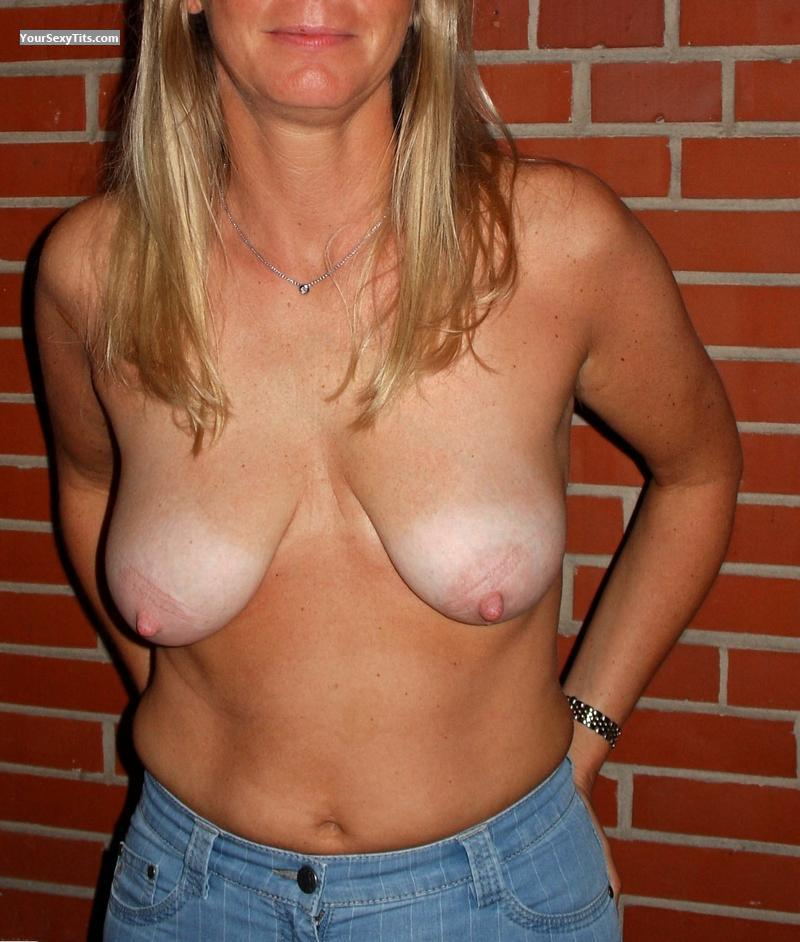 Tit Flash: Medium Tits - Real Blondie from Germany