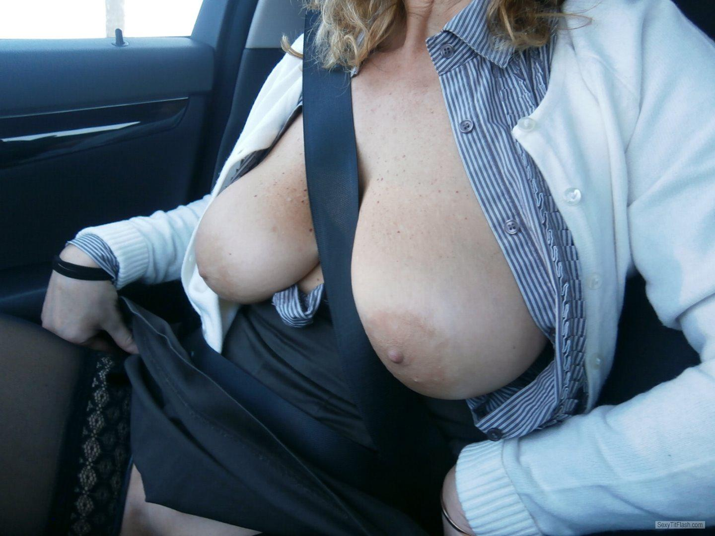 Tit Flash: Wife's Big Tits - Topless Patty from Italy