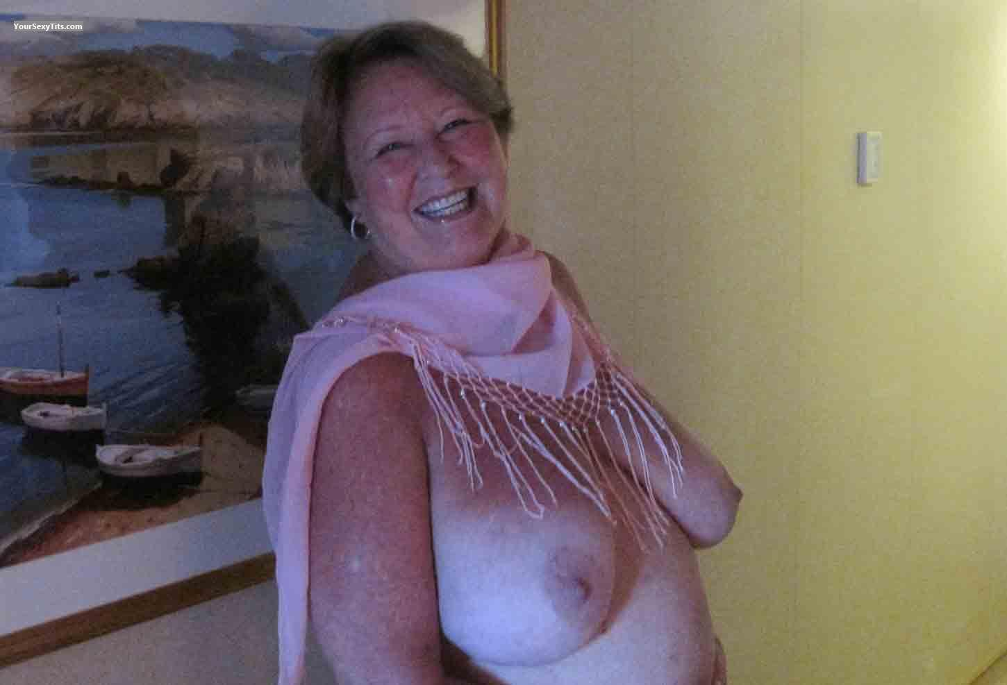 Tit Flash: Big Tits - Topless Ginger from United States