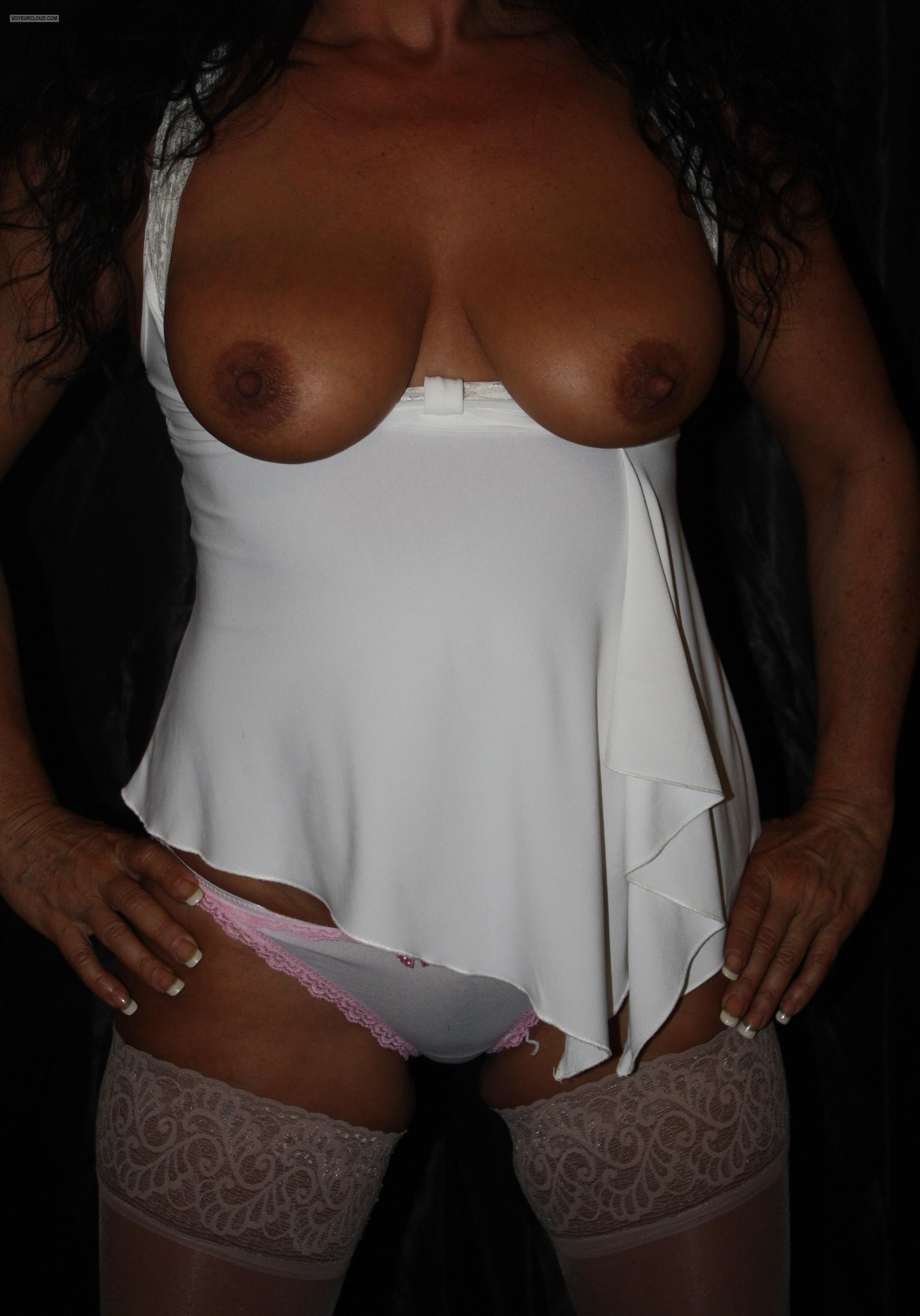 Tit Flash: Wife's Medium Tits - Sexy Italian Wife Lisa from United States