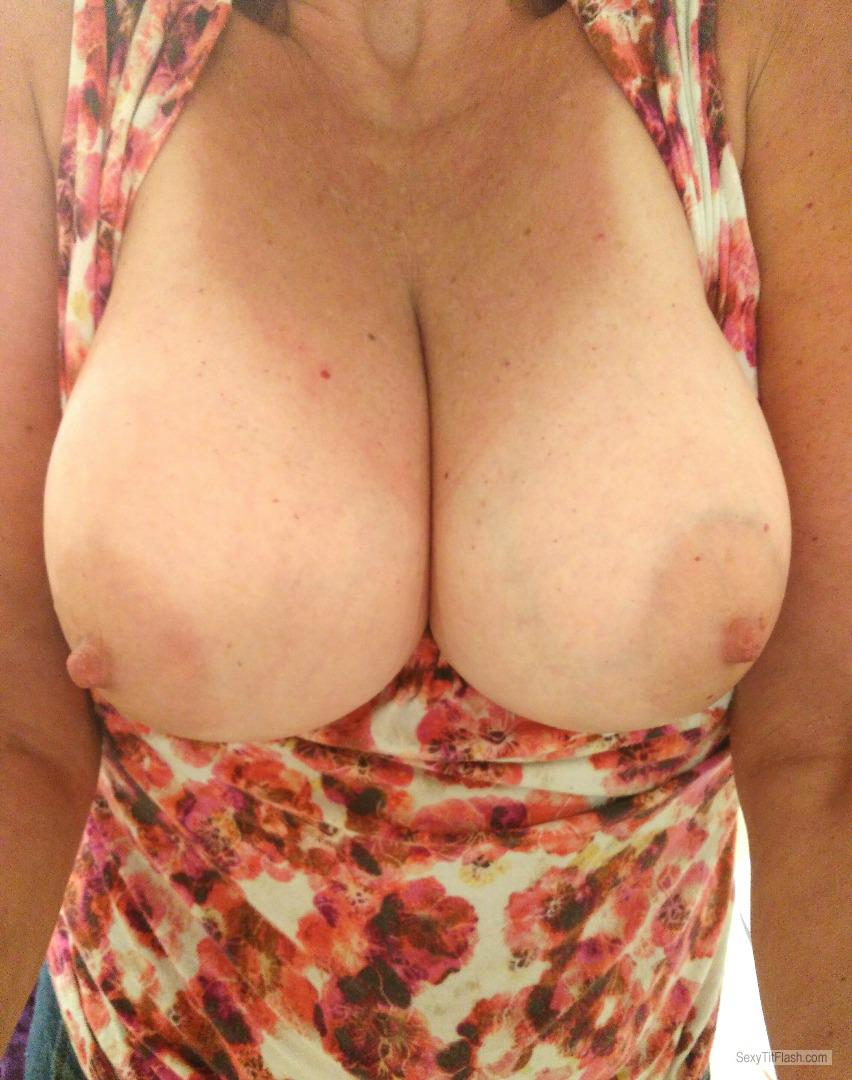 Tit Flash: My Big Tits With Strong Tanlines (Selfie) - Reba from United States