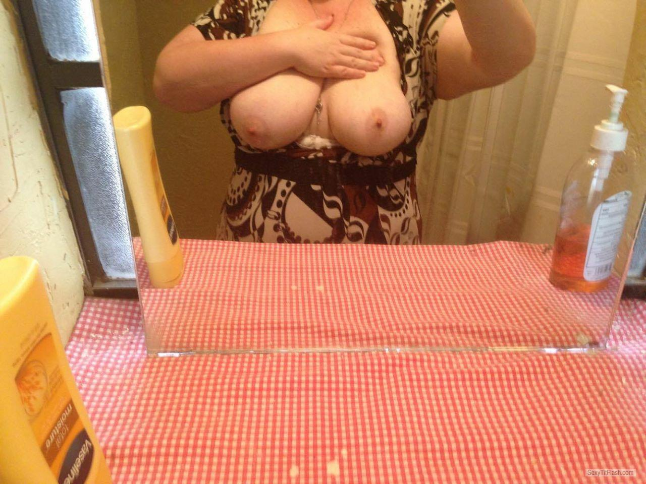 Tit Flash: My Friend's Big Tits (Selfie) - Woodshop from United States