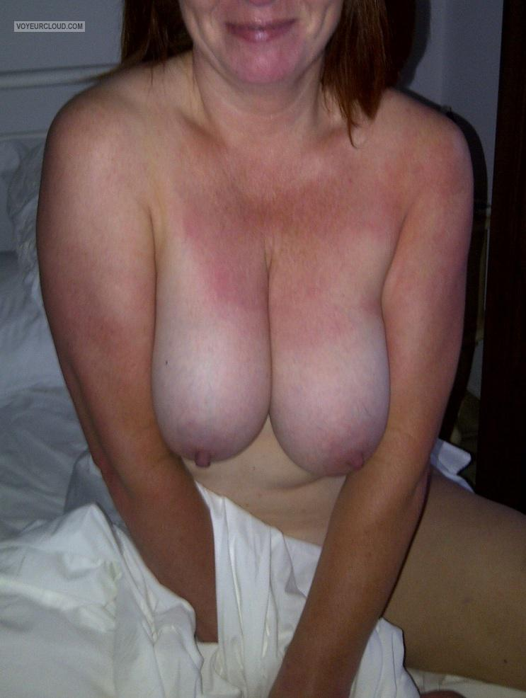 Tit Flash: Wife's Tanlined Big Tits - Laura from United Kingdom