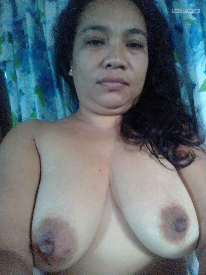 Tit Flash: My Tanlined Big Tits (Selfie) - Topless Maricel from Philippines