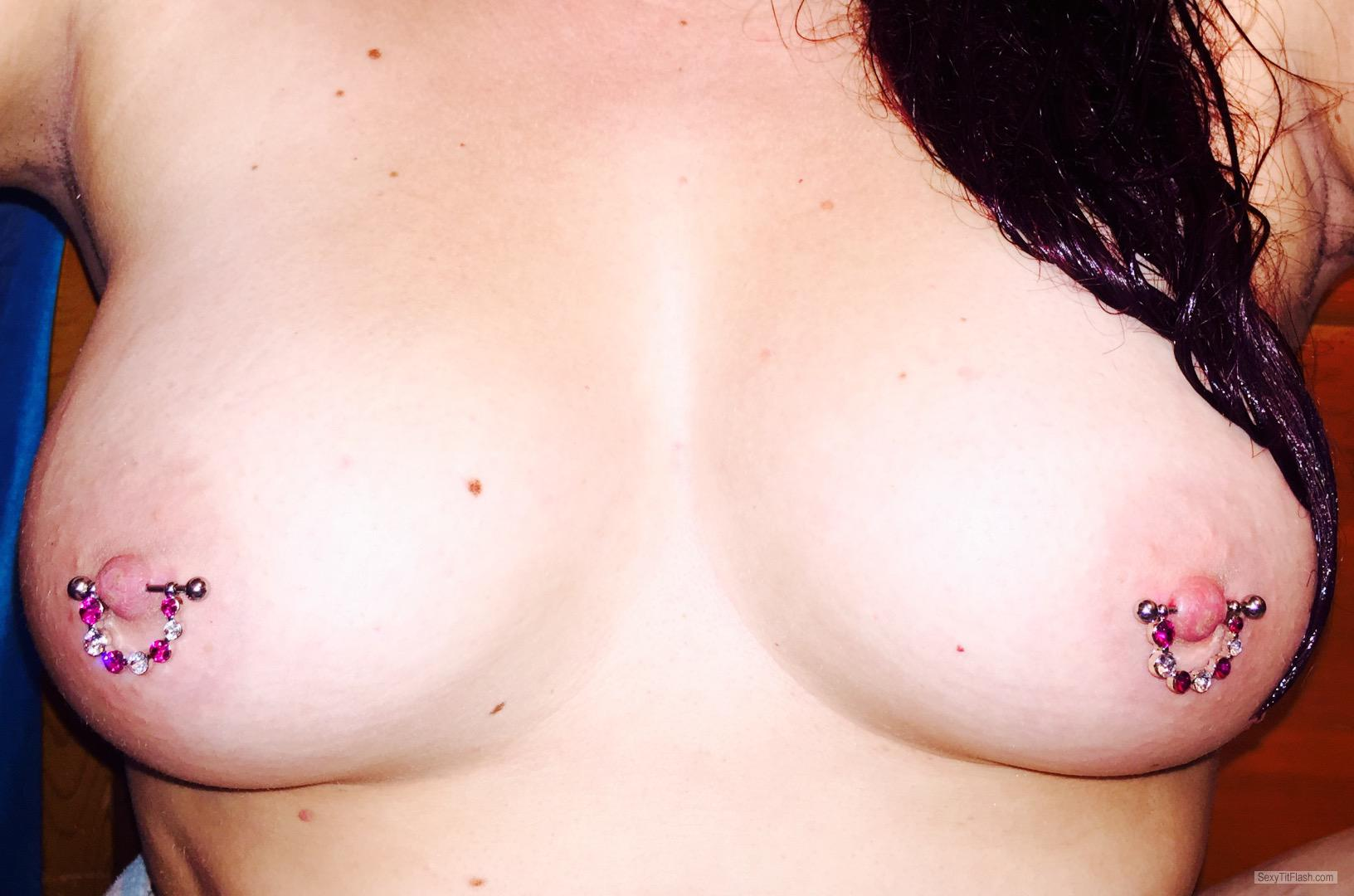 Tit Flash: My Small Tits (Selfie) - Double Trouble from CanadaPierced Nipples