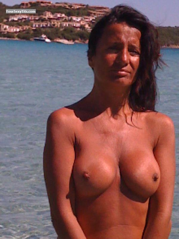 Tit Flash: Big Tits - Topless Porcellona from ItalyPierced Nipples