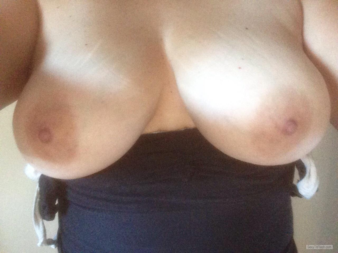 Tit Flash: Room Mate's Big Tits (Selfie) - Cum Wueen from Canada