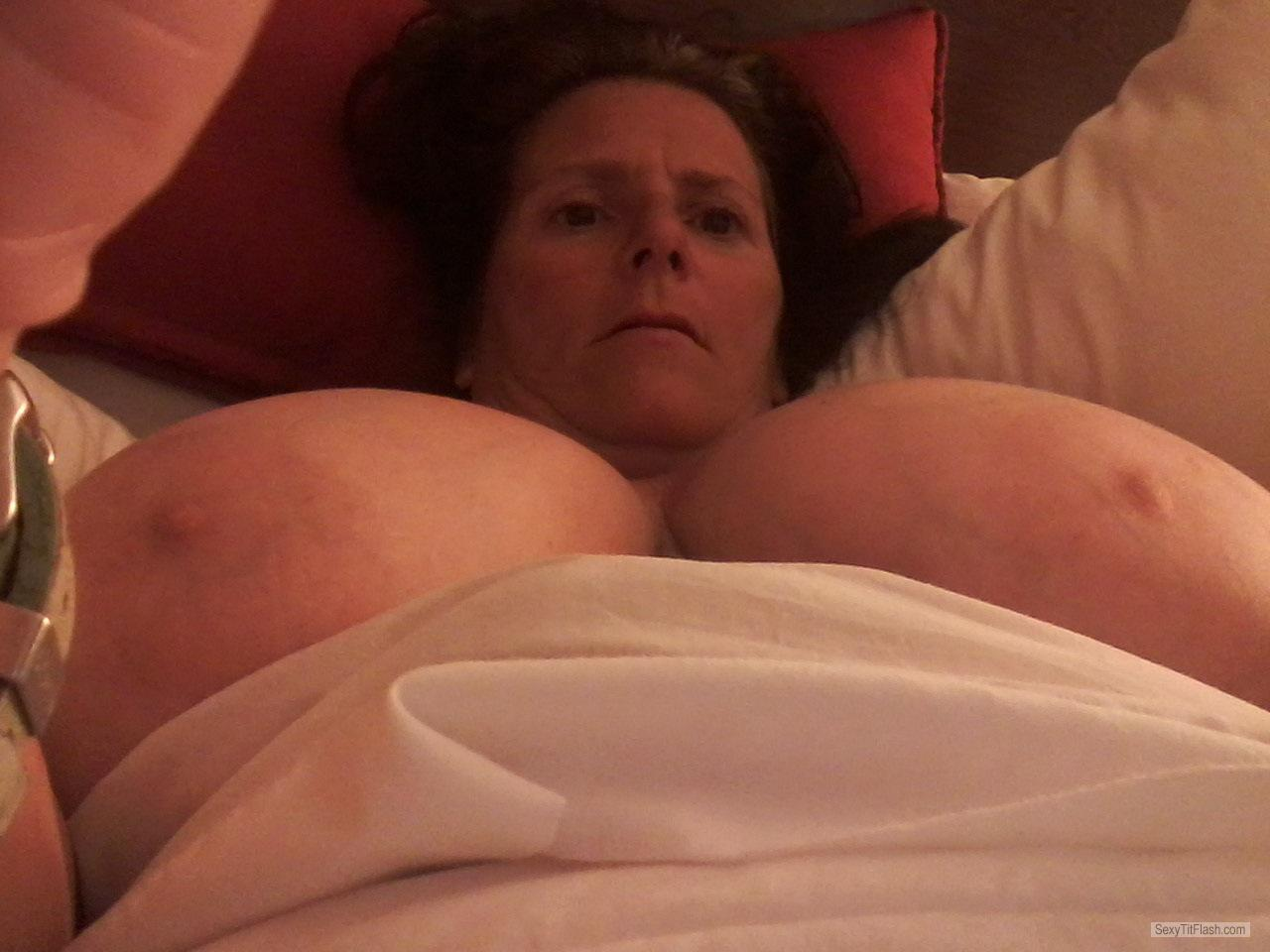 Tit Flash: Wife's Big Tits (Selfie) - Topless Momma Juggs from United States