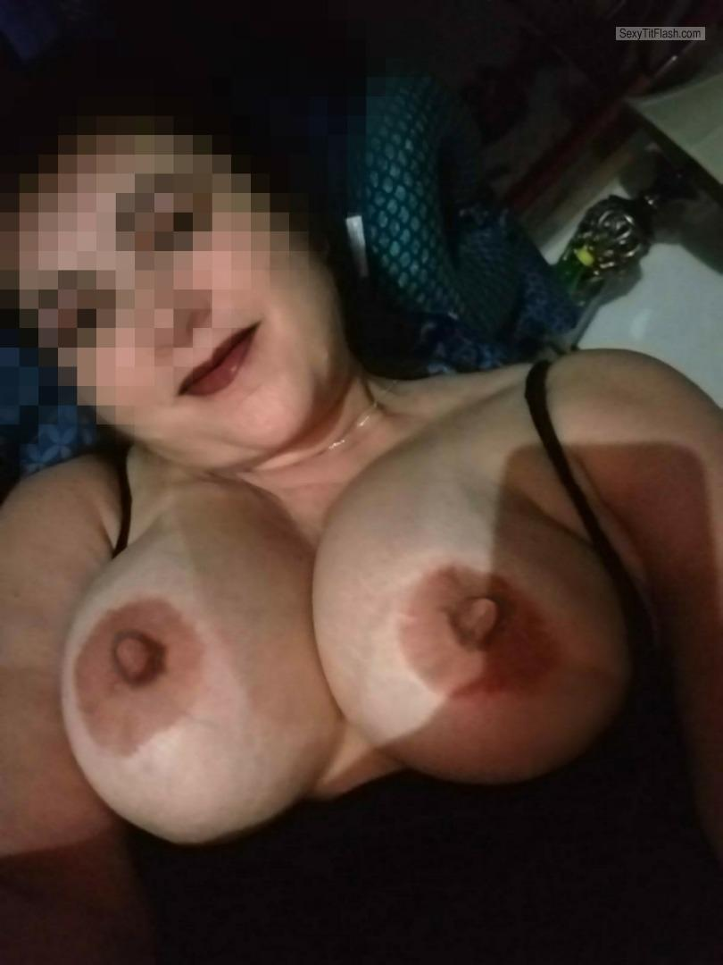 Tit Flash: My Big Tits With Strong Tanlines (Selfie) - Topless Stljosie from United States