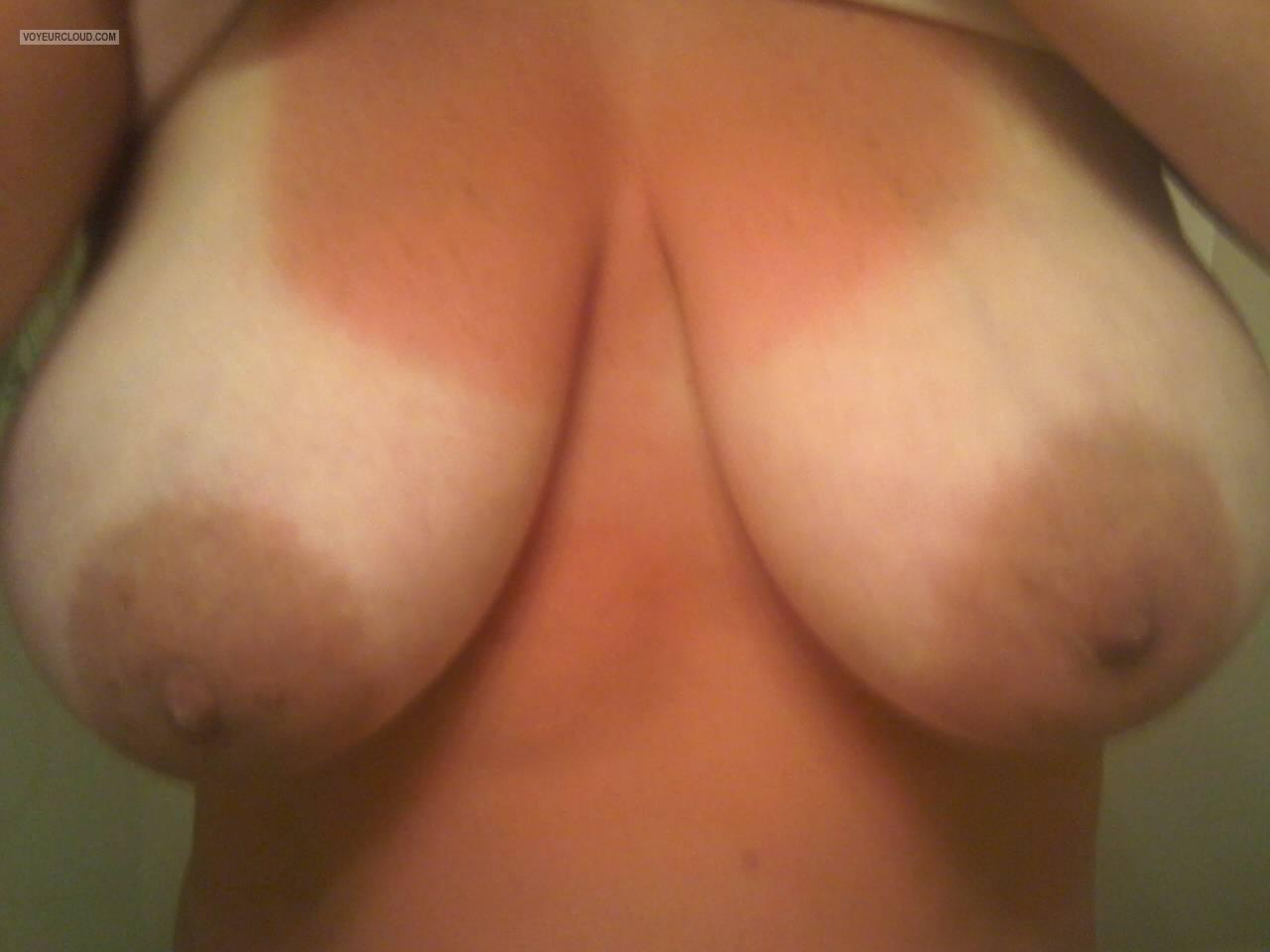 Tit Flash: Wife's Tanlined Very Big Tits - Brittany from United States