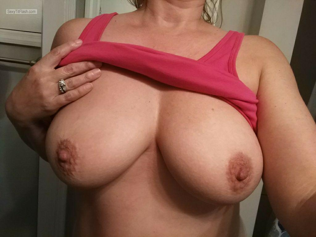 Tit Flash: My Big Tits (Selfie) - Cumwife from United States
