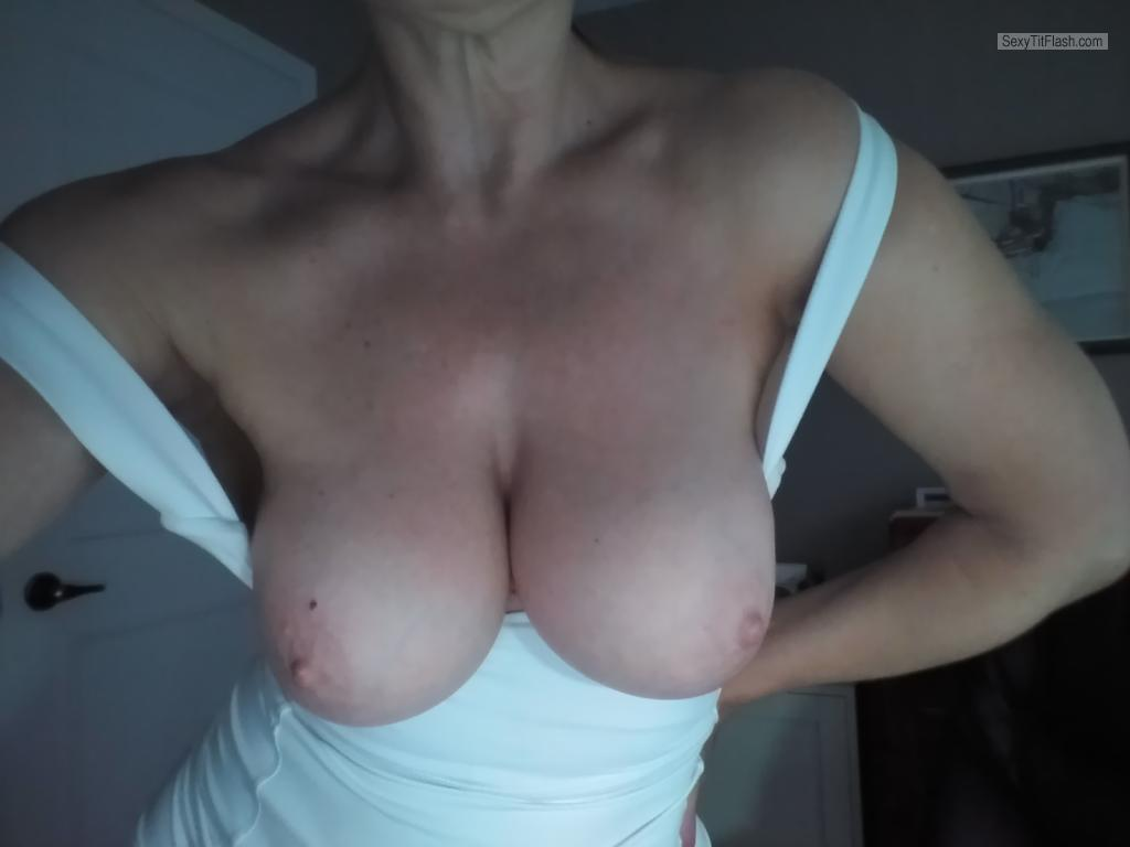 Tit Flash: Room Mate's Big Tits (Selfie) - Lynn's Tits from Canada