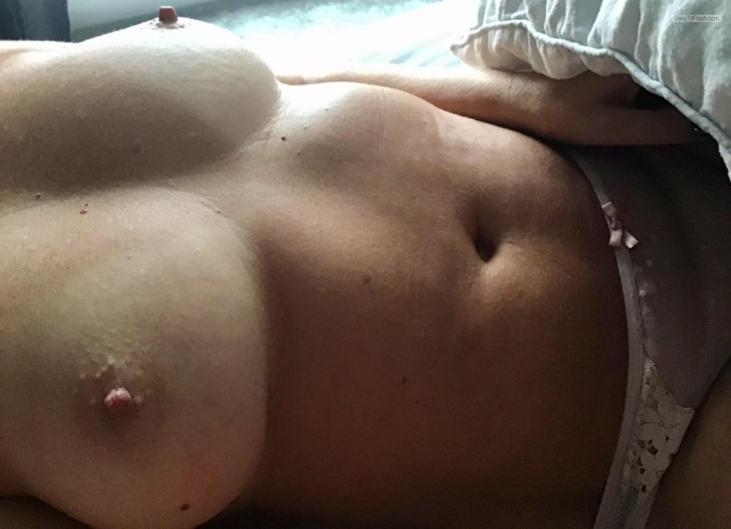Tit Flash: Wife's Tanlined Big Tits - Wife48 from Australia