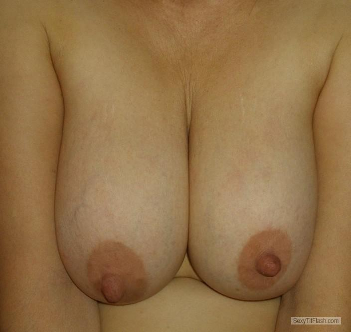 Tit Flash: Wife's Big Tits With Strong Tanlines - Lola from France