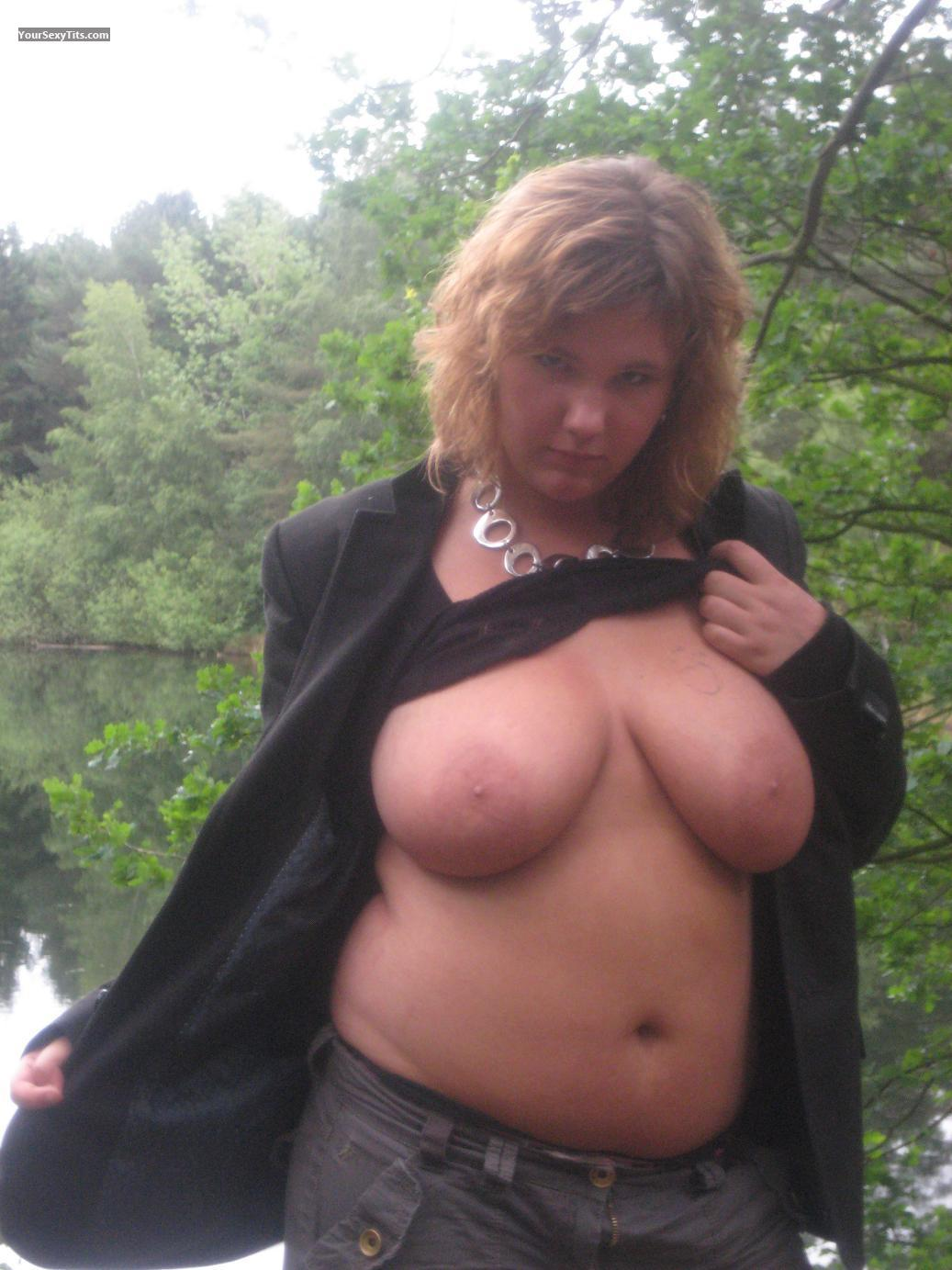 Tit Flash: Big Tits - Topless Linda from Belgium