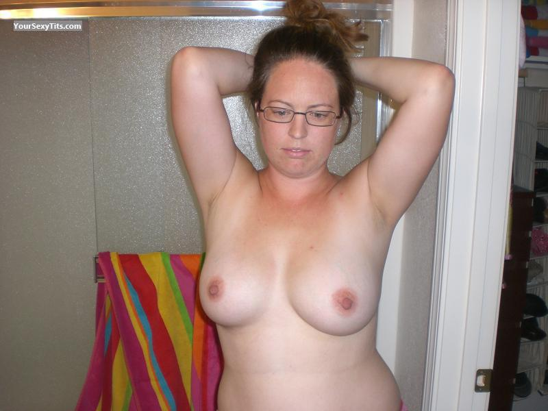 Tit Flash: My Friend's Tanlined Big Tits - Topless Courtney from United States