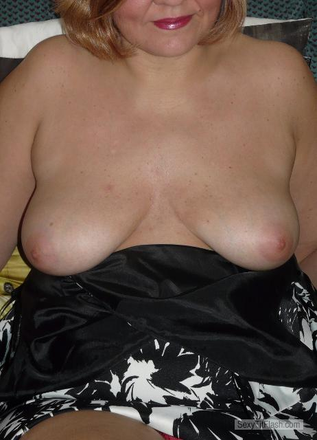 Tit Flash: Wife's Medium Tits - HornywifeGB from United Kingdom