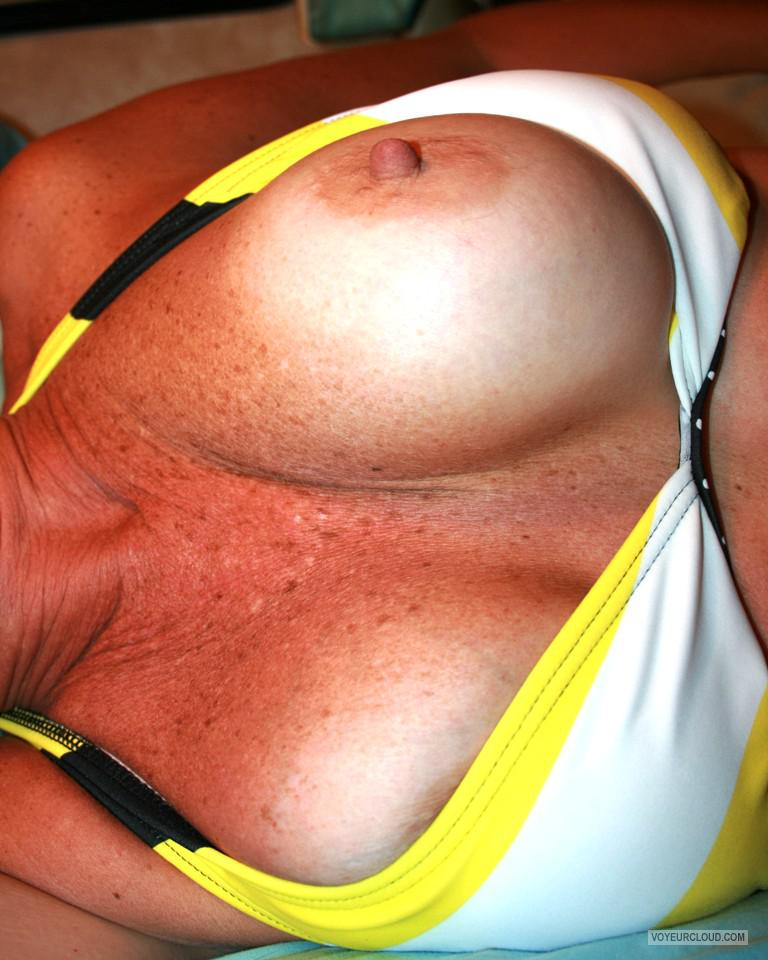 Tit Flash: Wife's Tanlined Big Tits - Lydia10 from United States