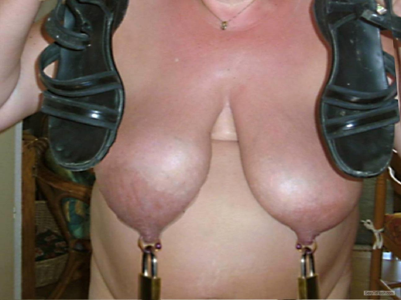 Tit Flash: My Tanlined Big Tits (Selfie) - Ich Mal Schau Mal from FrancePierced Nipples