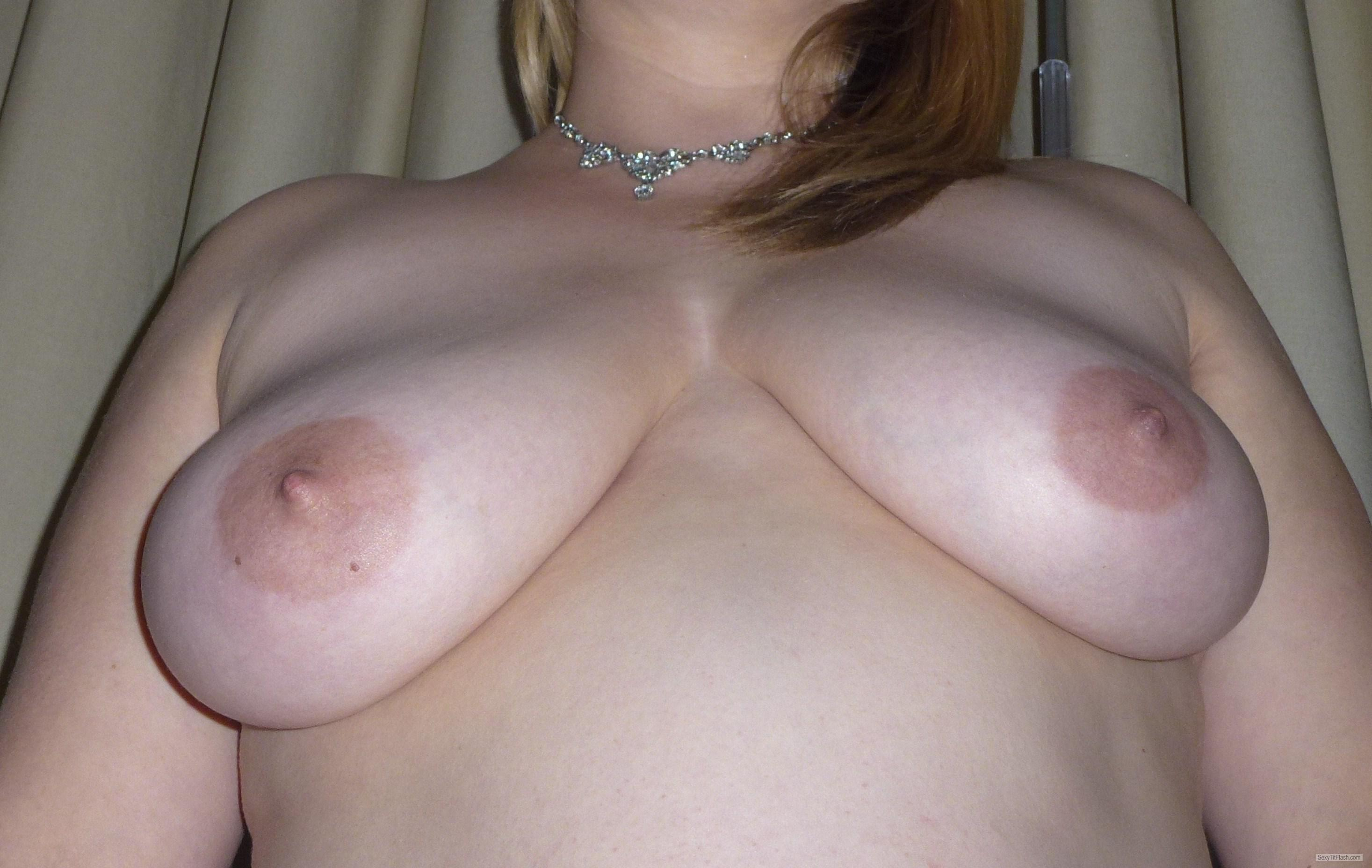 Tit Flash: Wife's Medium Tits - BP from United Kingdom