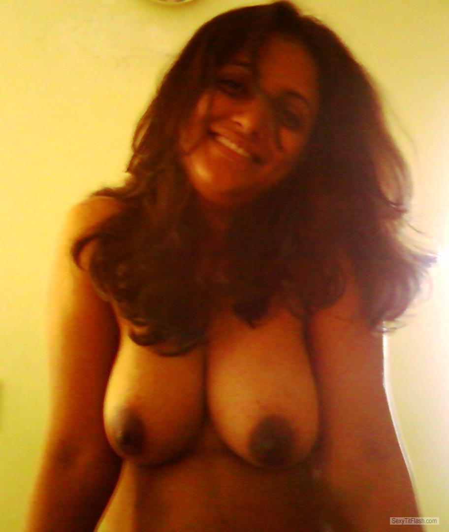 Tit Flash: Wife's Medium Tits - Topless Sanju from India
