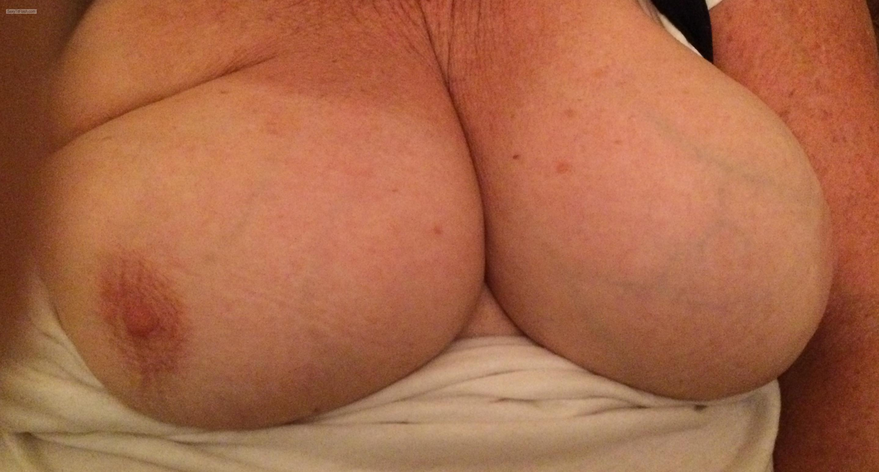 Tit Flash: Room Mate's Tanlined Big Tits - Sexy M from United Kingdom