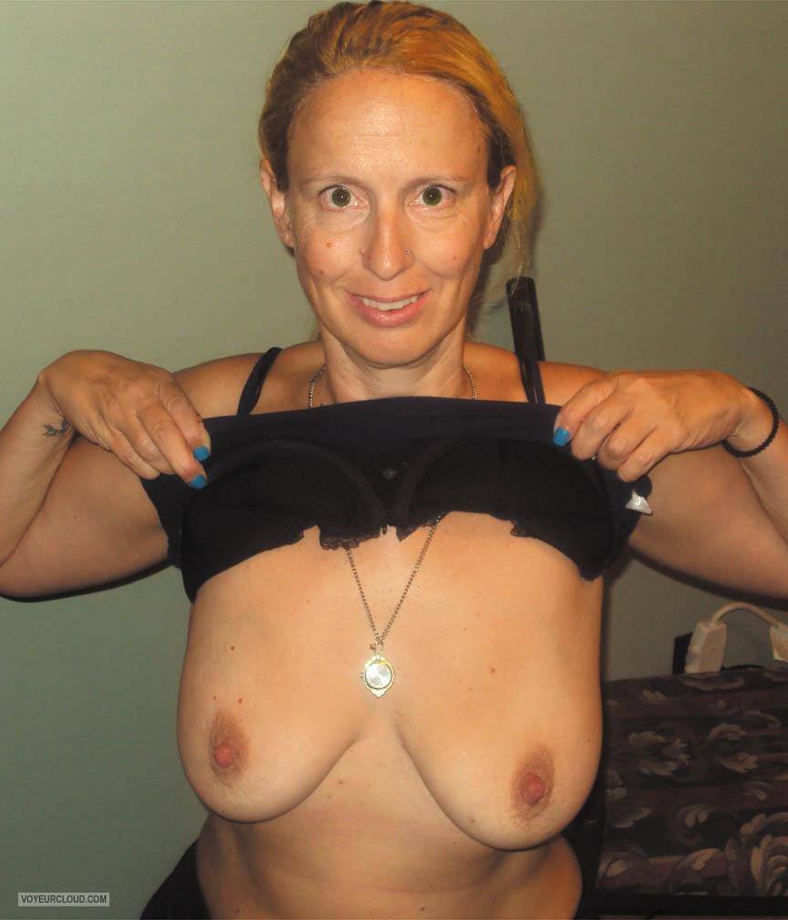 Tit Flash: My Tanlined Medium Tits - Topless Rere from United States