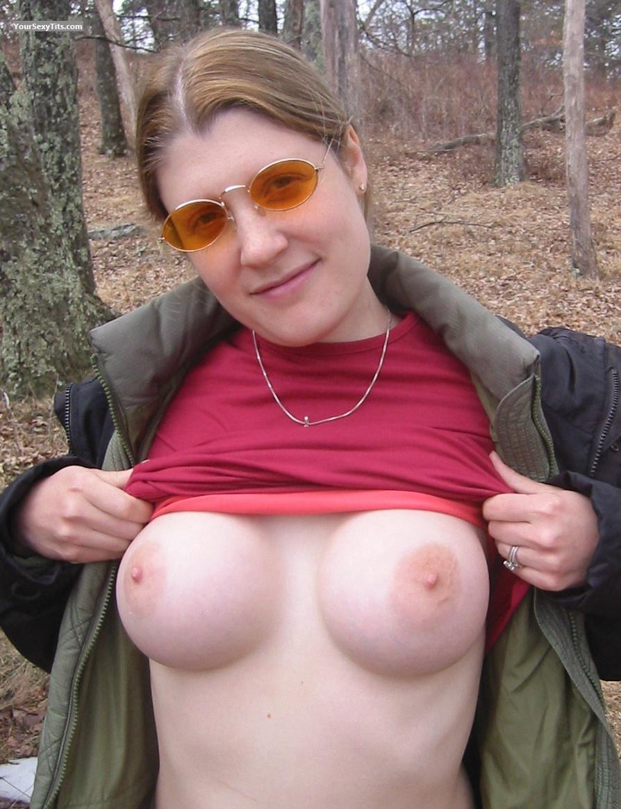 Tit Flash: My Big Tits - Topless Melanie from United States